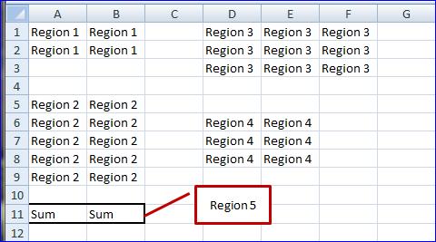 Spreadsheet Region with Sum Range