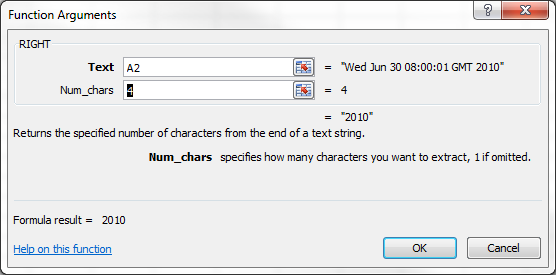 RIGHT Function Argument Dialog Box 2
