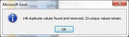 Remove Duplicates Confirmation Popup