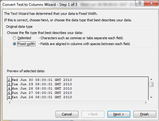 Text To Columns Wizard Step 1 of 3