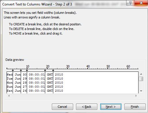 Text To Columns Wizard Step 2a