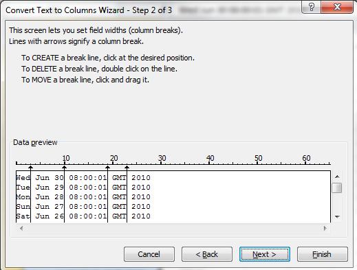 Text To Columns Wizard Step 2b