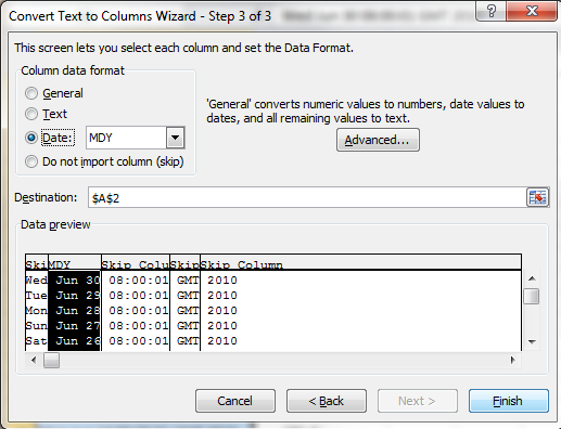 Text To Columns Wizard Step 3b