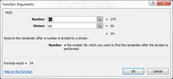 Excel MOD Function Arguments Dialog Box