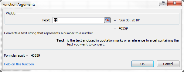 Excel VALUE Function Argument Dialog Box