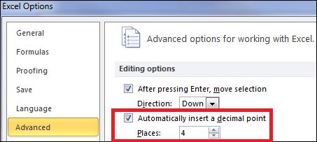 Advanced Options Decimal Points