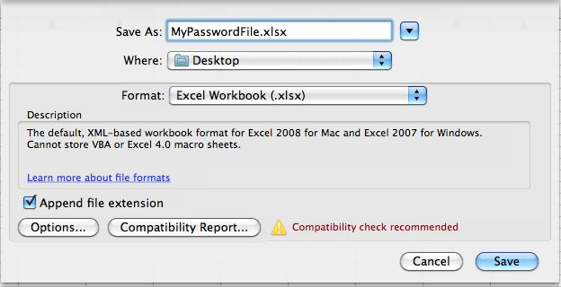 File Save Options Excel 2008