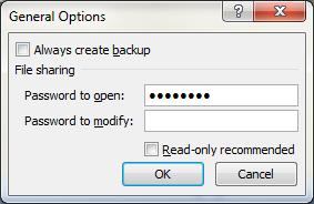 General Options dialog box 2010