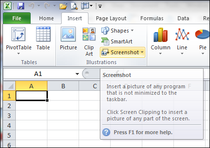 how to insert screenshots in excel 2010 update november