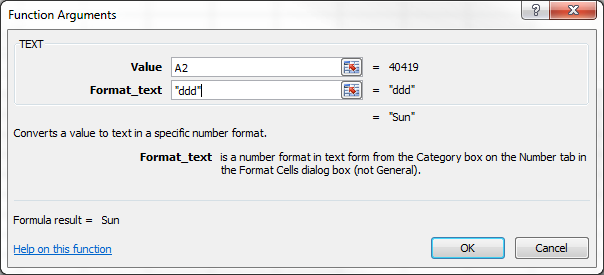 TEXT Function Argument dialog box