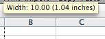 Column Width Tool Tip Excel 2008 Mac