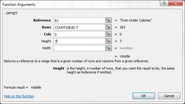 OFFSET Function Dialog Box