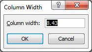 Standard Column Width Excel Windows
