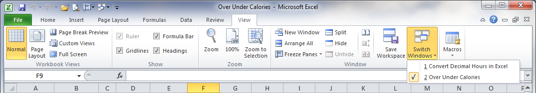How to switch tabs in excel 2007