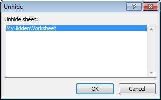 Worksheet Unhide