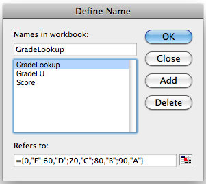 Define Name dialog box