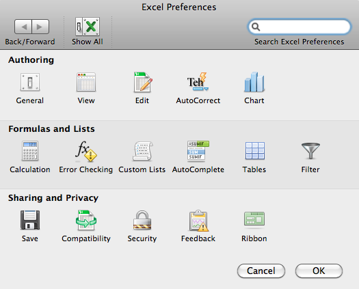 Excel 2011 Preferences