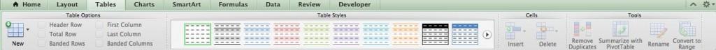 Excel 2011 Ribbon Tables