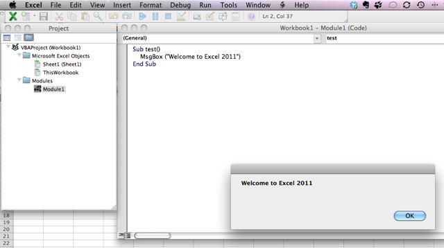 visual basic editor excel mac 2008
