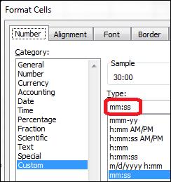 Format cells mmss