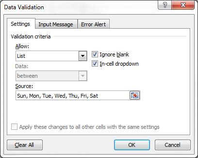 Data Validation Text Date List