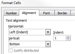 Format Cells Horizontal Alignment Left Indent