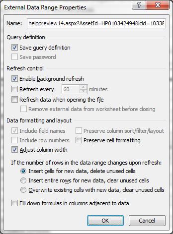 External Data Range Properties