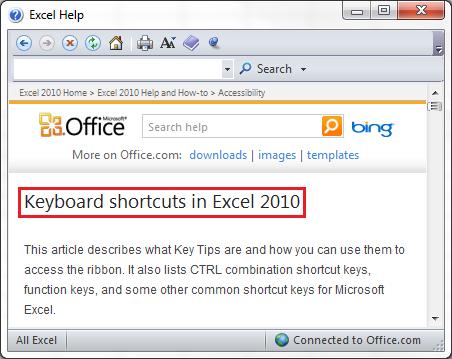 Help Topic Title Keyboard Shortcuts