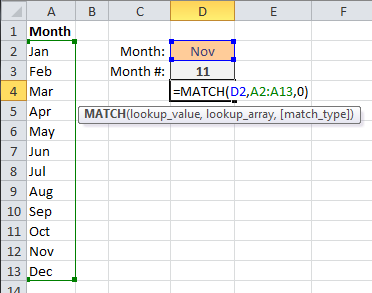 MATCH Function Month Vertical