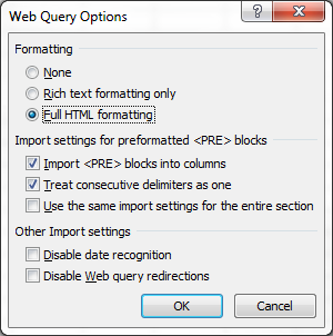 Web Query Options