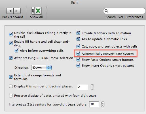 Excel Edit Preferences