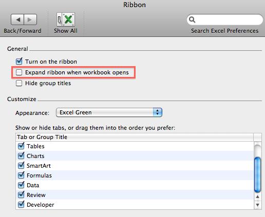 Excel Ribbon Preferences