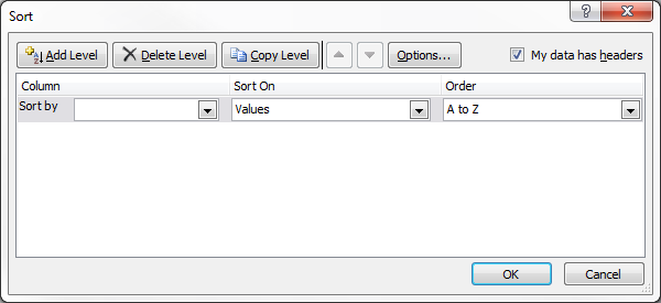 How To: Sorting Columns Left to Right in Excel Update