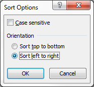 Sort options dialog box