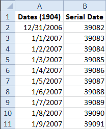 1904 Dates in 1900 Spreadsheet