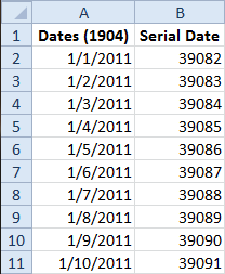 1904 Dates in Excel