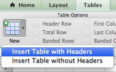 Insert Table Mac