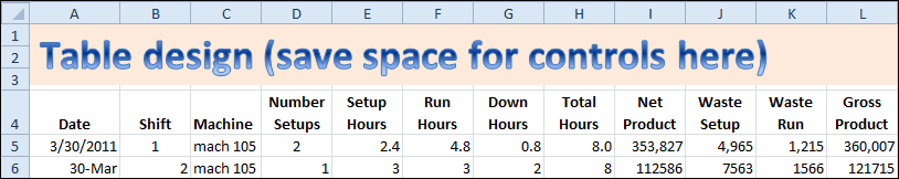 excel table design