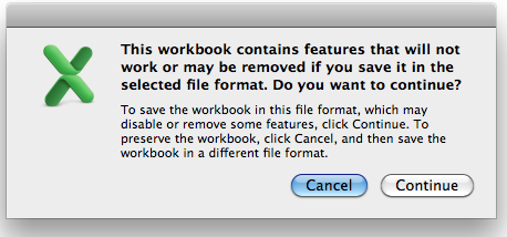 Compatibility Warning Excel for Mac