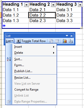 Create list in excel