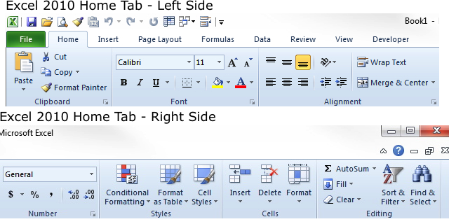 how to ribbon home tab comparison excel 2010 windows