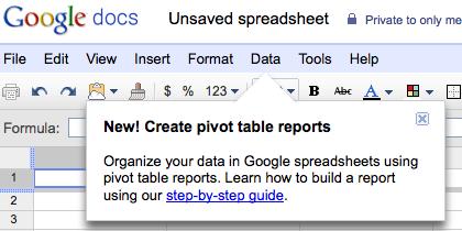 Google Docs pivot tables