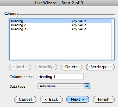 List Wizard Step 2 of 3