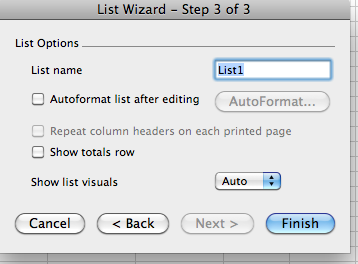 List Wizard Step 3 of 3