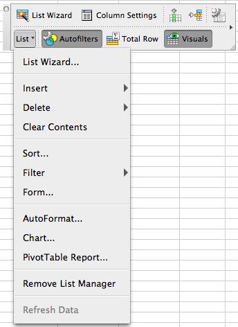 List toolbar List menu