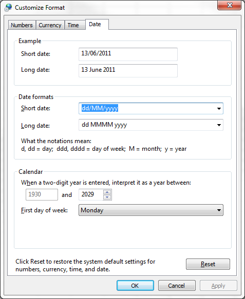Customize Regional Date Format 1