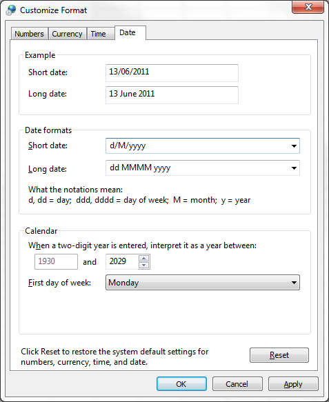 Customize Regional Date Format 2