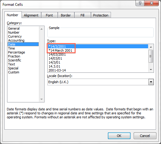 Windows Format Cells Date UK