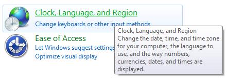Windows Regional Settings (Navigation to)