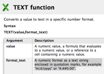TEXT Function Syntax and Argument